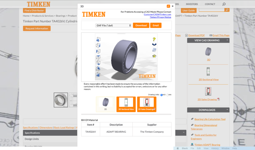 Timken CAD - Online product catalog
