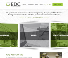 EDC Management Corp. Website design for manufacturing service companies