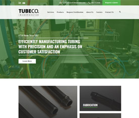 TubeCo Incorporated - Website design for custom manufacturers