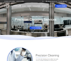 U.S. Clean Lab - Website design for manufacturing service companies
